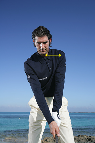 Move Your Left Shoulder, Add Yards                            Bonus: It will keep your slice in check, too                           By Robert Baker                           Top 100 Teacher                                                        This story is for you if...                                                      • You need more distance but don't know how to get it                           • The harder you swing, the more you slice or pop the ball up                           • You can't keep your head back during your downswing                                                      THE PROBLEM                           When you try to bust a big drive, you move your whole body toward the target on your downswing. This results in very poor contact and weaker hits than if you just tried to swing easy.                                                      THE SOLUTION                           Start your power move with your left shoulder only, not your whole body.                                                      HOW IT WORKS                           At address, notice the distance between your left shoulder and your chin. As you swing to the top, also notice how that distance all but disappears as you turn your left shoulder away from the target. Big hits occur when you re-establish this gap on your downswing.