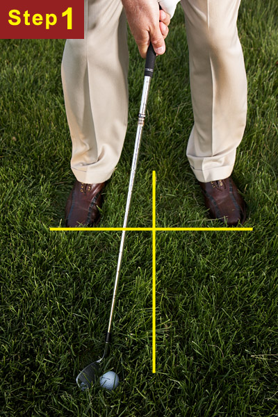 HOW TO GOUGE IT FROM THE JUNK                       STEP 1                       Stand closer to the ball and choke up a few inches so the shaft is more upright than usual for the club you've chosen. Aim slightly right of your landing area and play the ball back of center. Also, increase your grip pressure — otherwise, the grass will turn the clubface over and the ball will go left. Forward-press your hands so the shaft leans toward the target.                                              CHECK!                        If you can see the top half of your ball, use your 9-iron (stronger players can use an 8-iron). If only a small circle on the top of the ball is visible, opt for your sand wedge.