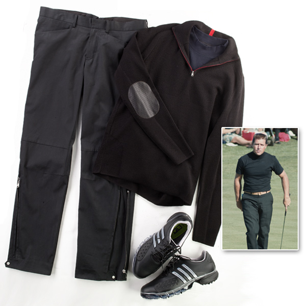 "The look: Gary Player.                       The basics: Black anything.                       This look's for you if ... You can't be bothered worrying if this matches with that. Or you really dug that Lee Van Cleef look in The Good, the Bad and the Ugly.                       How to update it: Black zip-front stretch-cotton knit jacket and stretchcotton trousers with ventilation panels, both by RLX Golf by Polo/Ralph Lauren ($375 and $95, respectively). ""Dry Tec"" Mock T by Cutter & Buck ($80). Shoes: Powerband by Adidas ($140)."