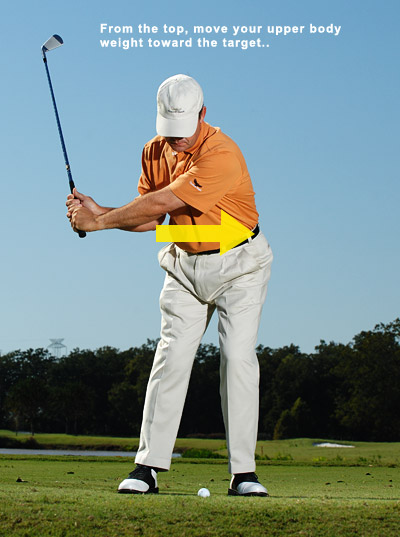 How to Hit Every Iron Flush                       The secret is a smooth transition from backswing to downswing                       By Paul Marchand                       Top 100 Teacher                                              This story is for you if...                                              • You seldom make contact on the sweet spot.                                              • You have no sense of how to transition from backswing to downswing.                                              The Common Wisdom                       From the top of your backswing, turn your hips toward the target.                                              Why It's Misleading                       When you start your downswing by turning, your swing immediately switches to an outside-in path, even if you were in perfect position at the top. This cut-swing path is the one that gives you your slice or, in the event you square the face, a vicious pull.                                              Positioning the club at the start of your downswing is a critical moment in your swing. Although it happens very rapidly, you can think of it in two steps.                                              THE RIGHT WAY TO START YOUR DOWNSWING                                              STEP 1: Move your upper body weight to the left                       At the top, feel like you're sitting down on a chair that's just beneath your rear end and slightly to your left. Use your legs to push your feet into the ground and move your left hip toward the target. It's a subtle move, but what's most important is that you move laterally without turning.