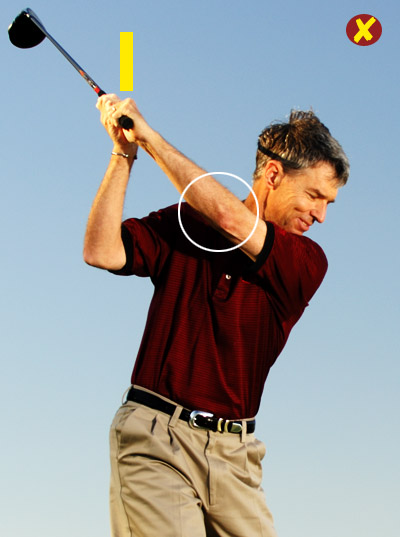 If you're laid off at the top...                                              You're taking the club away outside of the target line, and then lifting it to the top with mostly your left arm. As a result, your club travels more around your body than up and down. From a laid-off top position, it's easy to swing across the ball through impact. Hello, slice.