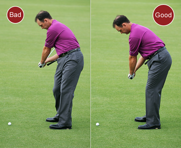 1. If you push the ball, you're moving your lower body toward the ball on your downswing. This blocks the path your hands take to impact, so the club gets stuck. You can fight off the block by flipping your hands, but this usually creates a hook.                                              FIX: Place a shaft through the two front belt loops on your pants with the grip end to your right. Make practice swings with a focus on keeping your chest pointing down and your hips back. This allows your arms to correctly swing in front of your body. Do it the old way and your arms will bump into the shaft.