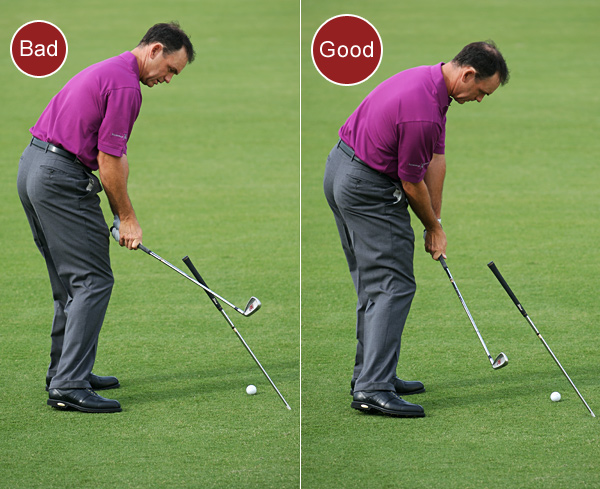 2. If you alternate between slicing and pulling the ball, you're swinging the clubhead from outside the target line to the inside.                                              FIX: Take your normal setup and place a shaft in the ground eight to 12 inches behind your ball and four to six inches outside your target line. Angle the shaft to match the lie of the club in your hands. Your goal is to swing under the drill shaft as you make your way back down to the ball. This will force you to swing more from the inside. The ball may fly to the right at first, but if you keep making the same inside-out swings and feel the toe of the club passing the heel as you swing through impact, your shots will straighten out.