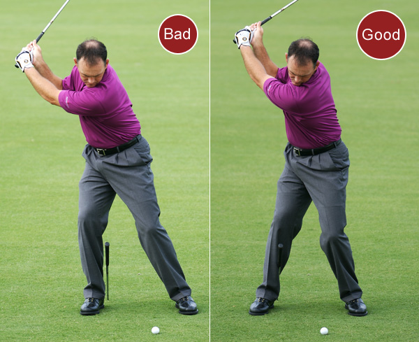 5. If you make consistently poor contact, you're swaying away from the target on your backswing, making it difficult to return your body and club to a solid impact position.                       FIX: Take your normal setup, then place a shaft in the ground next to the inside of your right heel. Angle the shaft so that the grip end presses against your right calf. Maintain this pressure while you swing to the top of your backswing to eliminate swaying and increase your chances of solid contact.