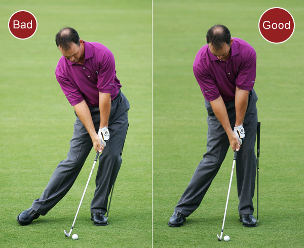 6. If you hit fat shots, you're sliding your hips too much toward the target on your downswing. This causes your upper body to tilt away from the target so you can maintain balance. Now, the bottom of your swing arc is behind the ball — you'll hit the ground first and the ball second.                                              FIX: Take your setup position and place a shaft straight into the ground just outside your left foot. From the top, your goal is to move your left hip and knee into the shaft at the same time and then turn them immediately to the left. If you slide, you'll hit the shaft and then bend it forward. This drill helps stabilize your lower body and position the bottom of your swing at the ball so you catch it flush instead of fat.