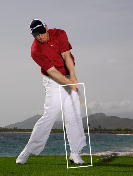 As you near impact, allow your left leg to straighten. At this point you can turn your upper body as hard as you want — your lower-body-dominated downswing has slotted the club on plane and there's little chance of coming across the ball and hitting a slice.                                                      THIS DRILL ALSO FIXES: Pulls and deep divots with your irons.                                                                                 Have a rigid swing? Think like a football linebacker                                                      Are you short off the tee? Think like a baseball pitcher                                                      Are you an inconsistent ballstriker? Think like a football quarterback                                                      Do you hit topped or thin shots? Think like a tennis player                                                      Hit your irons fat? Think like a hockey player
