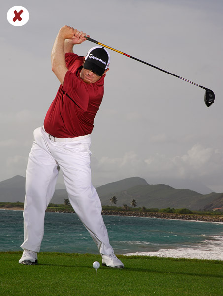 A lean forward leads to a lean backward during the downswing.