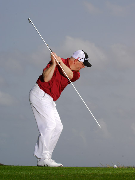 Notice how your left arm runs through your right shoulder. This is a clue that you're on plane.