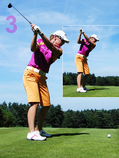 "Annika swings ""uni-plane"" — the shaft angle barely changes from setup. Hard to go wrong from here. Try to get your right upper arm parallel to the ground and your right forearm parallel to your spine at the top."
