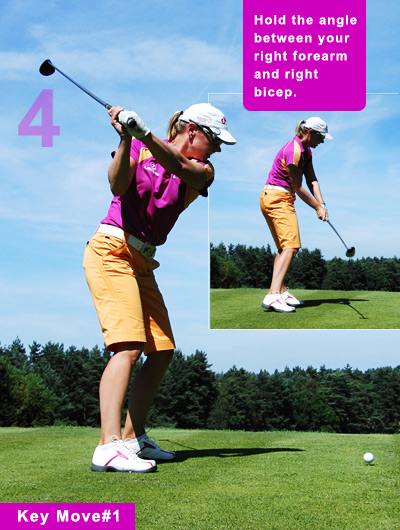 "The ""uni-plane"" theme continues: The shaft angle in her downswing is a near carbon copy of her backswing. The only difference is the flex in her legs — a response to a shift in weight to her left side."