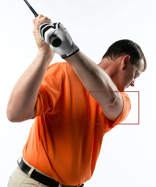 How to make                       a perfect                       backswing                       every time:                                              Keep your left                       arm in tight                       It's easy to talk about                       making a shorter                       backswing, but since                       you're looking at the ball                       and not behind you when                       you swing, it's difficult to                       know how much shorter                       you should swing the club.                       Here's how to know:                       As you take the club away,                       keep your left bicep in                       contact with the left                       side of your chest.                       Maintain this                       connection and your                       backswing will reach its                       natural end point without                       you having to think about                       it. Keeping your left arm                       tight against your chest                       prevents you from lifting                       or raising your arms, and                       allows your right shoulder                       to stop turning at the right                       moment in your swing.                                              Don't worry about it!                       If you think you need a long                       backswing to hit the ball far, that's just                       not the case. You'll hit the ball farther                       more consistently if you make contact                       in the sweet spot, even with a slower                       or shorter swing. The left-arm trick                       makes it easy to swing your club on                       plane both back and through. Your                       contact will be better and you'll see                       the benefit in extra yards.                       Step 2: Make a Bigger Hip Turn