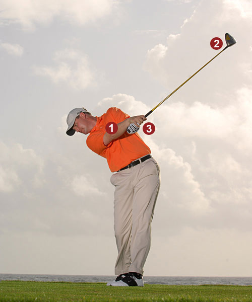 IF YOU TRY TO DO THIS ...                                                      You can turn                           your hands                           over only if your                           left-shoulder                           flexibility is                           good.                                                      1. Right shoulder                           under the left                           2. Clubhead left                           of target                           3. Right wrist                           pointing up,                           left wrist                           pointing down