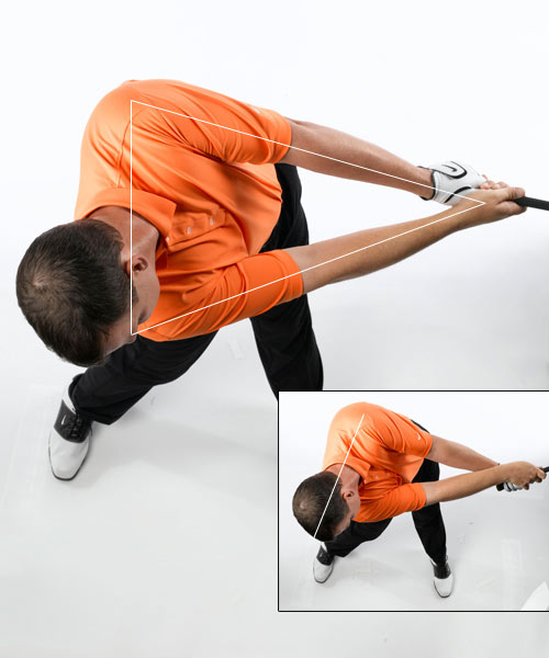 How to square the face and hit                             it straight more consistently: Make a triangle with your arms                                                          Instead of trying to rotate your forearms and wrists to release                             the club, keep your hands facing each other and continue to                             rotate your upper body toward the target until well after                             impact. In fact, you should feel like you're hitting the ball                             with your chest and that your hands are just along for the                             ride.                                                           This will put you in a slightly different release position,                             but it's fundamentally correct. The secret is to keep your left                             shoulder above your right as you turn your upper body toward                             the target. If you do it correct, your hands will always be in                             front of your chest, and you should see a prominent triangle                             formed by your shoulders, arms and hands.