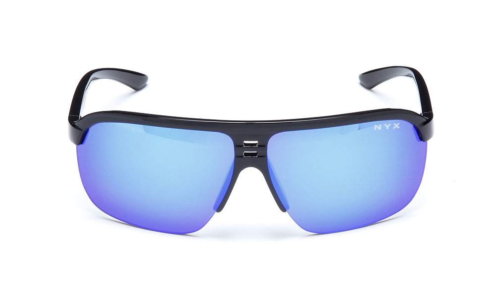 "NYX Jet, $60; nyxgolf.com                           A hybrid-style aviator sunglasses suitable for use on or off the course, the Italian-made ""Arctic Blue"" lens is infused with amber to provide high-contrast enhancement. The multilayer blue mirror minimizes eye fatigue."