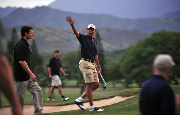 During the First Family's holiday vacation to Hawaii, President Barack Obama played a round at Mid Pacific Country Club in Kailua.