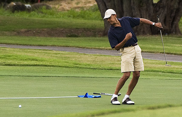 During the First Family's holiday vacation to Hawaii, President Barack Obama played several rounds of golf, including this one at Mid Pacific Country Club in Kailua.