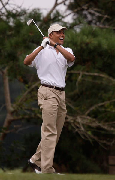 President Obama's Martha's Vineyard Golf Trip                       President Obama took advantage of an August vacation to Martha's Vineyard to hit the links.