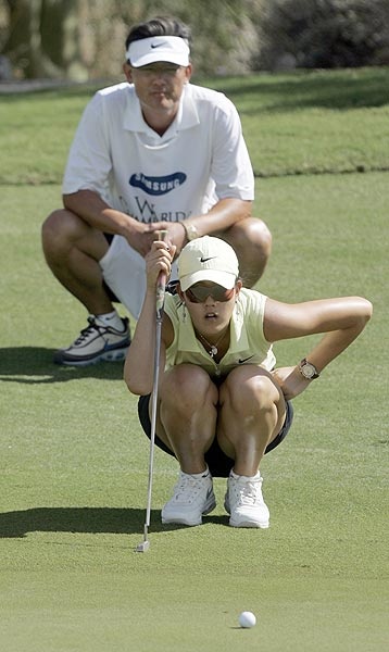 Michelle Wie was in last place after the first round at seven over par.