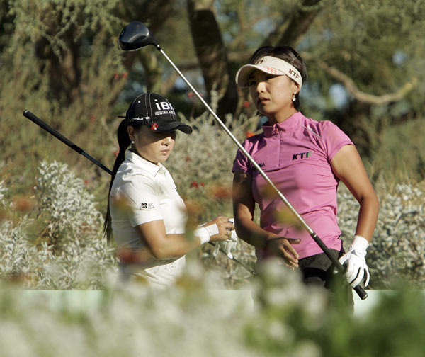 Mi Hyun Kim, right, finished second behind Ochoa, while playing partner Jeong Jang finished tied for third.