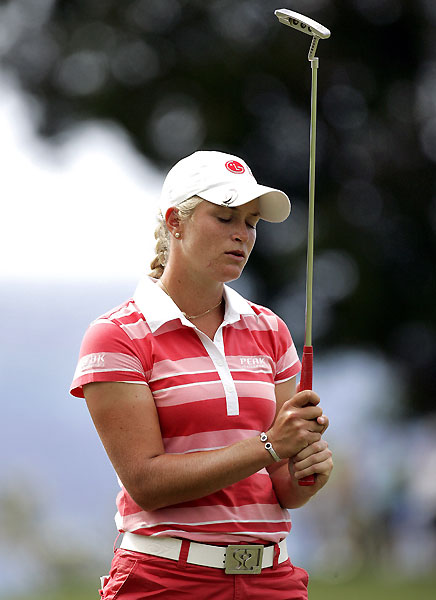Suzann Pettersen finished one behind Pressel at seven under par.