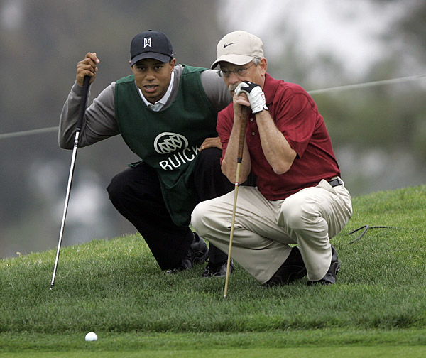 Woods joked with Abel and offered several tips along the way.