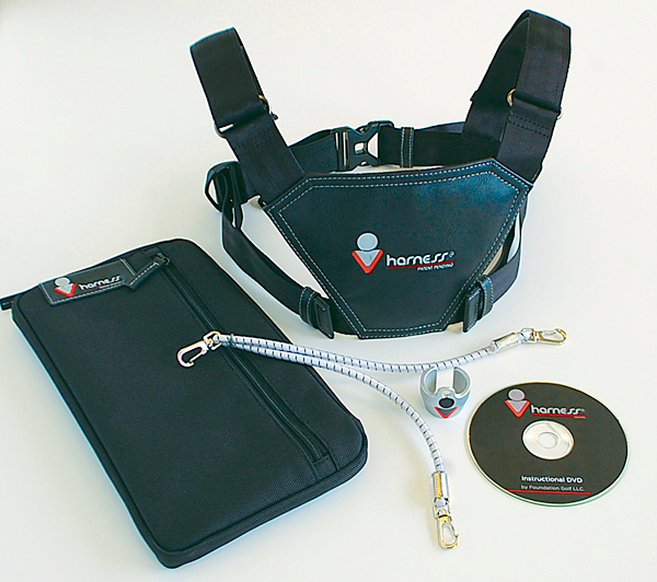 "$200, vharness.com                           Endorsed by PGA Tour player                           Rocco Mediate and instructor                           Jimmy Ballard, the Vharness                           uses a cord-and-harness system that                           attaches the grip of the club to your shoulders. The tension between the club and the harness around your body ensures                           that you maintain proper posture                           and plane throughout your swing.                           While it may look complicated, the                           Vharness is actually designed to work                           with any swing path or style, and it                           doesn't require any ""swing thoughts.""                           It's a true ""keep it simple"" swing aid."