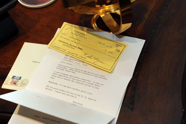 "Wadkins kept a check from Ben Hogan with a note that read, ""Enclosed is my check for $4.00 for your skins yesterday."""