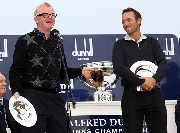 Nick Dougherty (right) and his amateur partner, Chris Evans, won the pro-am title.