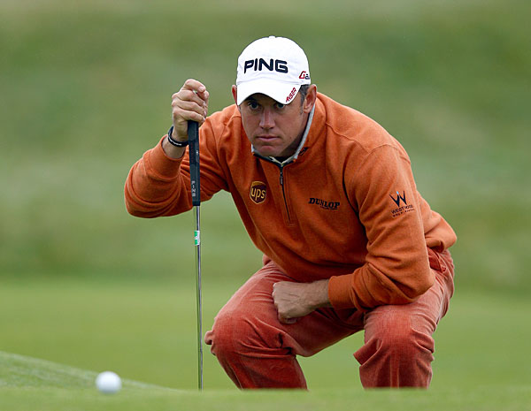 Lee Westwood created some buzz with his colorful outfit on Sunday.