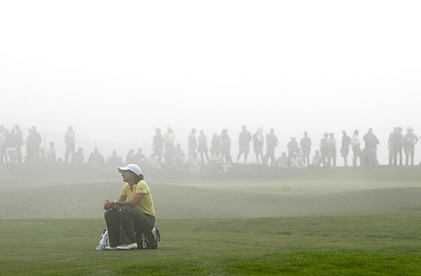 Ochoa had to wait to hit after thick fog moved into the area.