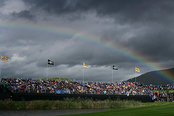 A rainbow graced the course Sunday afternoon.