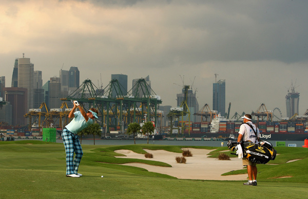 Ian Poulter built a five-shot lead, but he was four over through six holes before play was suspended.