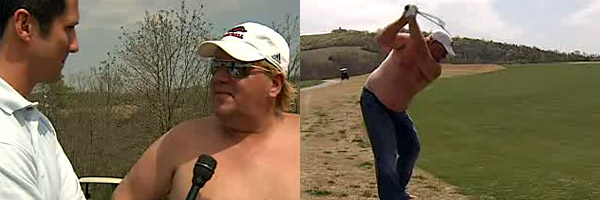 PGA Tour commissioner Tim Finchem stressed in a players meeting in May 2008 the importance of having a professional appearance. Right about that time a TV interview surfaced that showed Daly at his Branson, Mo., golf club wearing only blue jeans -- no shirt, no shoes, no socks.