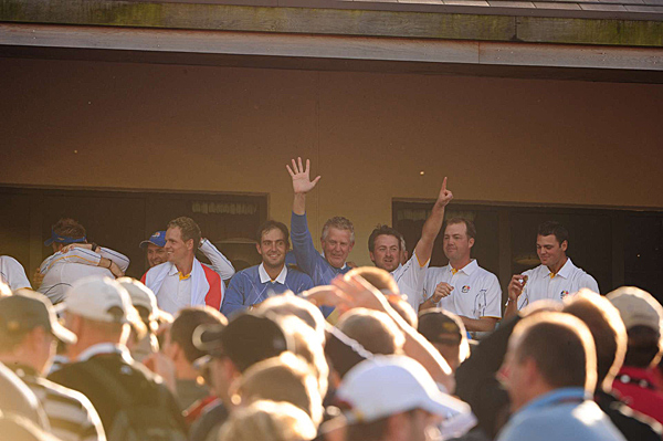 McDowell celebrated with his captain, Colin Montgomerie.