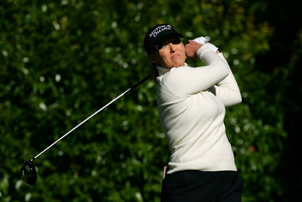 Cristie Kerr made a double bogey on No. 8, but rebounded with two late birdies to shoot a one-under 71.