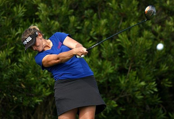 Angela Stanford was also tied for third at seven under par.