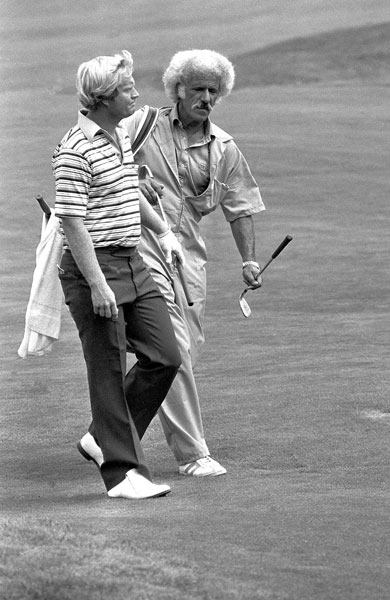 7. Angelo Argea                                                      Caddying for Jack Nicklaus, Argea was on the bag for more than 40 of the Golden Bear's 73 PGA Tour wins. A former Las Vegas taxi driver, Argea had thick and curly gray hair, long sideburns, and a sprawling mustache.
