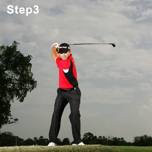 Step 3: Make a Strong Turn                           As you swing the club back, focus on turning your back to the target at the top of your backswing. A little lift of your left heel will help you rotate as far as you can. When I practice, I like to feel like I'm playing in a straitjacket. It helps me turn everything away in one piece. If you can turn like this while keeping your head behind the ball (not moving forward as in a reverse pivot), you're in great shape.