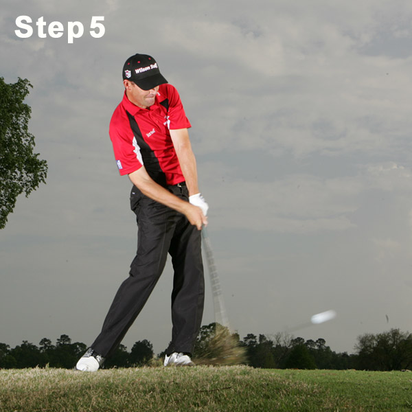 Step 5: Push at Impact                                                      Don't think about straightening your right arm until you've cleared the impact zone. Feel like you're pushing off your right foot and keeping your left leg slightly bowed. If you straighten your left leg, you'll bottom out too early and ruin your contact. When I'm practicing, I work on keeping my left wrist flat, with each of my knuckles facing the target. That means the face is square and I'm hitting the ball with the right amount of clubface loft.