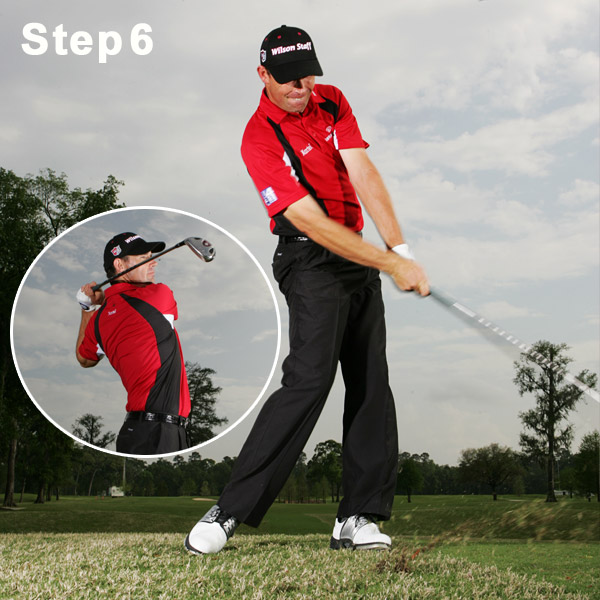 Step 6: Continue to Turn                                                      After impact, it's just a matter of continuing your body turn. Notice that my hips are already facing the target with my right knee pushing my body toward the hole, and that my right arm has been pulled straight. Moving your hips first and then your shoulders during your downswing gives you a whip-like feeling through the ball. The whip continues all the way into your finish, when your shoulders finally catch up to — and whip past — your hips. You've done it right if your lower body faces the target and your upper body faces slightly left of the target.