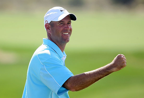 "STEWART CINK                                              Happiest golf moment                        ""Walking off the tee on the 72nd hole at the 2004 [WGC-NEC Invitational]. I drove the ball right down the middle of the fairway, and I knew I wasn't going to lose that three-shot lead. It was a surreal moment. I'll never forget it.""                                                                     The secret to happiness ""Getting outdoors: skiing, backpacking. I enjoy the peace I get outdoors with my family."""