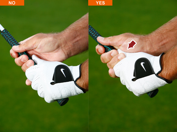 Grip check #2                                                      Turn your hands to the right and check the underside of your grip. The lifeline on your right palm should fit snugly over your left thumb, again with downward pressure. If there's space between them, your swing will suffer.