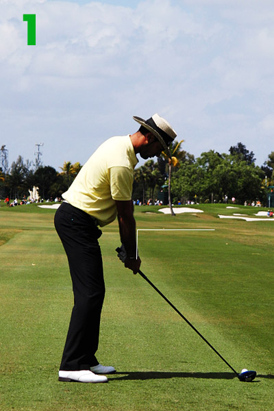 1. Quiros tilts from his hips so that his arms hang straight up and down, with his shoulders in front of his knees. This is a perfect setup, and it allows Quiros to turn better, faster and more consistently.