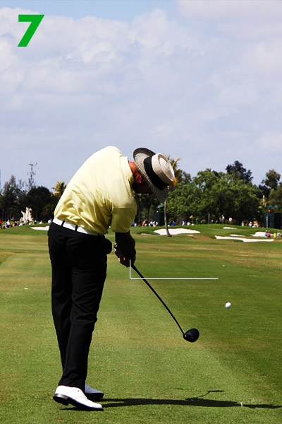 7. Here you can see the benefit of maintaining your original tilt and keeping your club on plane — Quiros's arms sling through impact and extend to the max. This allows him to accelerate all the way through the ball.