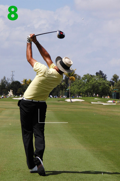 8. Alvaro has a perfectly balanced finish and, amazingly, has maintained his setup tilt. Check out the way his knees touch — strong evidence that everything has turned toward the target in unison into a balanced finish.• More swing sequences from the world's best players