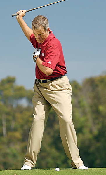 3. Blend your body and arms                                              Setup: Stand in your address posture with a club and place your left hand on your sternum.                                              Action: With your right hand only, take the club back to the top of your swing. There are three things to check as you do this:                                              1. Your left hand should move over your right foot.                                              2. Your right arm should fold a full 90 degrees.                                              3. The middle of your right forearm should end up even with your right ear.                                              Benefit: Moving your swing's center (your left hand in this drill) over your right foot shows you've made a solid turn behind the ball, and your right-arm position sets your hands and club in a solid position at the top. Once you can perform this drill correctly, complete it by turning through into a balanced finish with your swing center over your left foot. — Top 100 Teacher Kip Puterbaugh