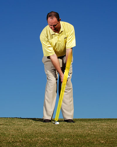 "Set the ""y"" made by your your forearms and shaft..."