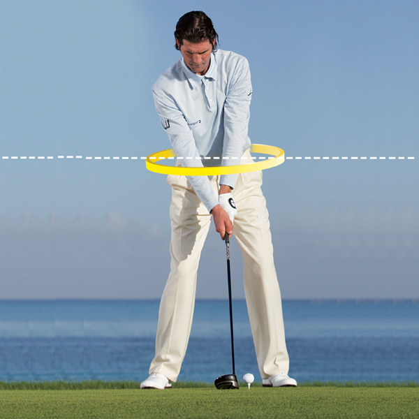 Power Up With the O-Factor                           A rarely discussed move, clearly evident in the swings of the game's elite players, will make you longer and more accurate with every club. The key is in your hips.                           O-Factor: The angle of your hips in relation to horizontal. It should always be positive (left hip                           up) or neutral.                                                      Address Set your body like an airplane coming in for a landing, with your left shoulder                            and left hip above their right-side counterparts, and your spine tilted away from the target.