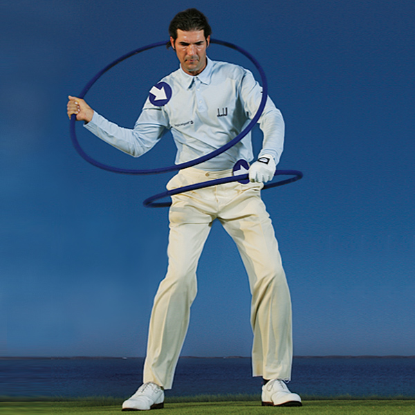 Shoulder wheel down                                                          First move: Your hip wheel spins up to establish your positive downswing O-Factor.