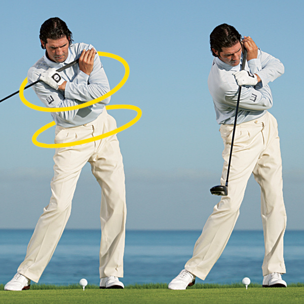 Step 3: Although your wheels move on different planes, they sit on the same angle.                           Step 4: Move your right shoulder down and through while clearing your left hip.